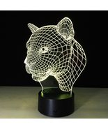 3D LED Night Light Leopard Tiger Head Action Figure 7 Colors Touch Optic... - $16.99