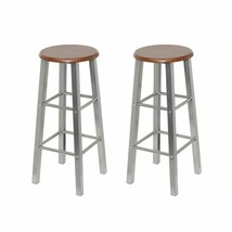 vidaXL Set of 2 Metal Brown MDF Seat Pub Bar Stools High Chairs Barstools - $52.99