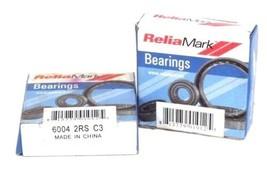 LOT OF 2 NIB RELIA MARK 6004-2RS-C3 DEEP GROOVE BALL BEARINGS 60042RSC3