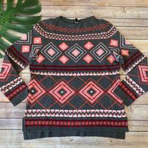 Talbots Fair Isle Knit Pullover Sweater Size M Petite Gray Pink Lambs Wo... - $29.69