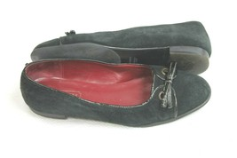 Coach Brinley Sz 6 B Black Flats Shoes Genuine Leather Suede Bow Slip On... - $29.70