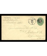 Goshen Ohio 1894 Fancy Octagon Cancel w Bull's Eye 2¢ Stamped Envelope - $18.99
