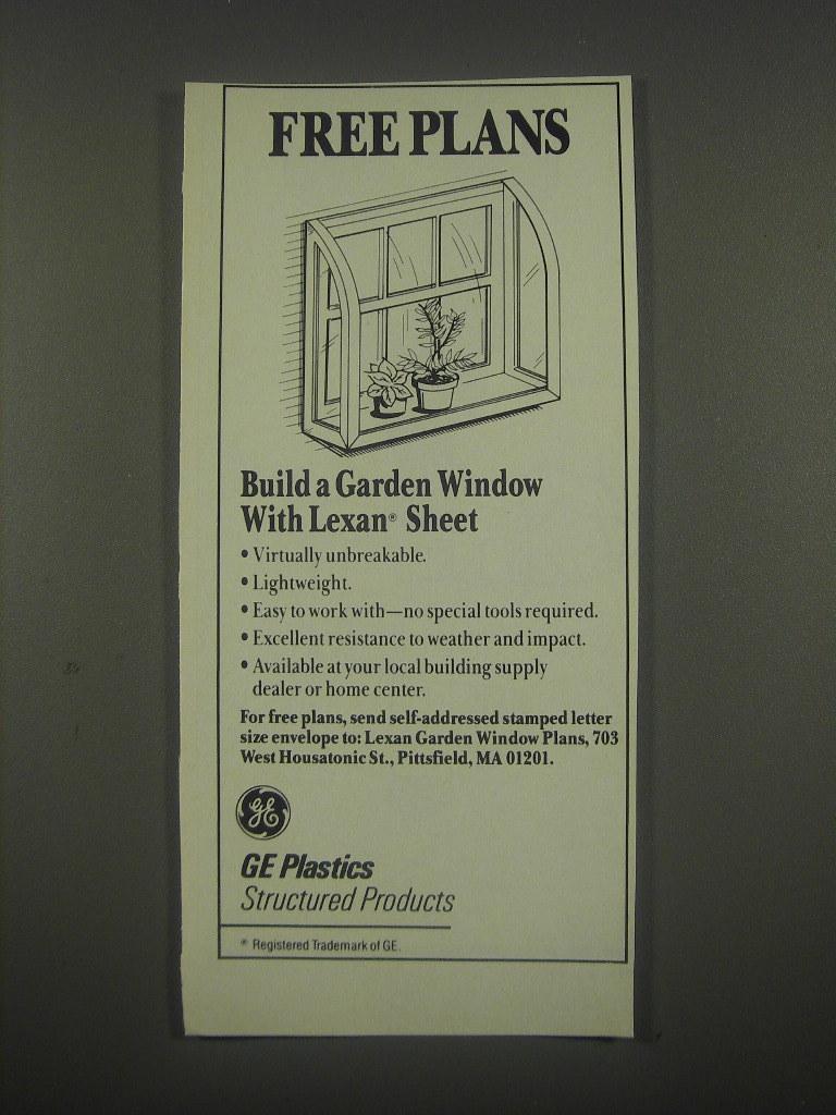 1991 GE Plastics Lexan Sheet Ad - Free Plans
