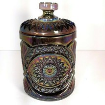Vintage Imperial Glass Hobstar Carnival Amethyst Canister Biscuit Jar Wi... - $95.45