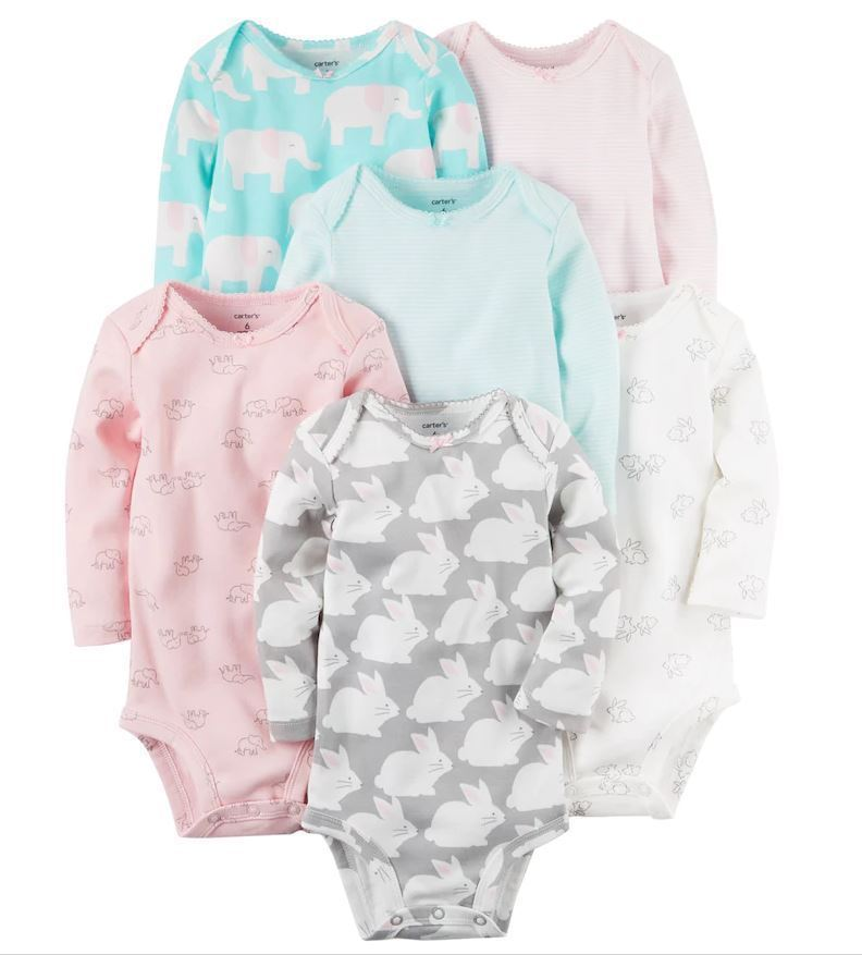 Carter's Baby Girl Carter's 6-pk Print Long Sleeve Bodysuits New Born - 24 M