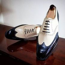 Handmade Men's Wing Tip Brogue Style White And Black Leather Oxford Shoes image 4