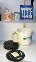 Mixed Lot 5 Items Measuring Spoons, Plastic Coffee Cups, Pilgrim Girl Ca... - $6.08