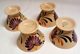 Vintage Wade Heath Art Deco Set 4 Harvest Ware Cups Purple Flower Floral... - $98.99