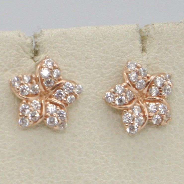 SOLID 18K ROSE GOLD EARRINGS FLOWER & ZIRCONIA, DIAMETER 8 MM, MADE IN ITALY