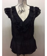 H&M Black Chiffon Women Blouse Sleeveless Ruffle Sz 6 Sexy V-Neck - $14.95