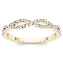IGI Certified 10k Yellow Gold 0.15 Ct Diamond Criss-Cross Anniversary Ring - $239.99