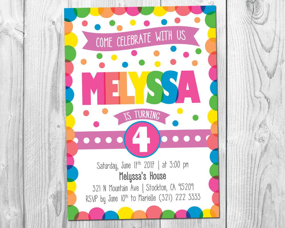 Polka Dot Birthday Invitation / Polka Dot Birthday Invite / Confetti Party - $7.99