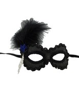Soiree' Royal Blue and Black Feather Beaded Masquerade Mask - $47.49