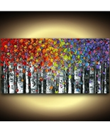 Birch Tree Landscape Wall Art Print from abstract original painting Susa... - $175.00