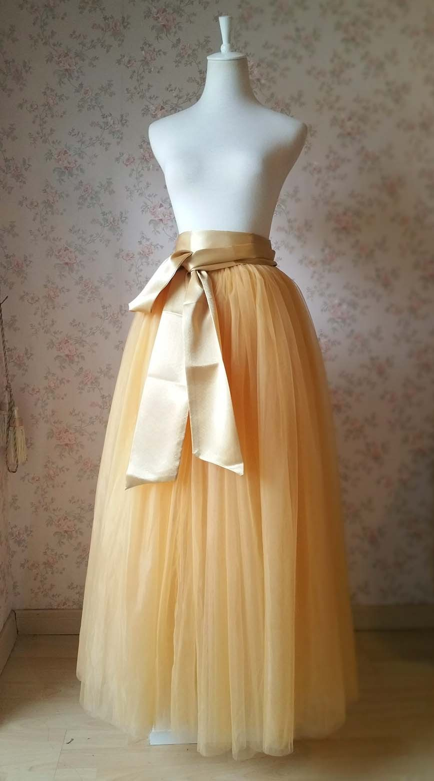 GOLDEN Floor Length Tulle Skirt Golden Ruffle Tulle Skirt Party Skirt Plus Size