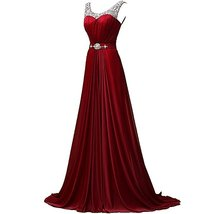 Women's Long Burgundy Prom Dress Gown 2017 Formal Evening Party Dress Cheap - $129.00