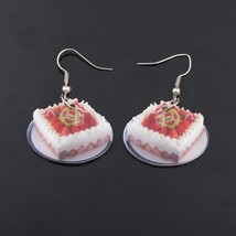 1 pair strawberry cake food drop earrings colorful new 2014 cute lovely printing - $9.18