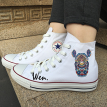 Chuck Sneakers Original Design Rhinoceros Totem Canvas Shoes White Converse Top - $119.00