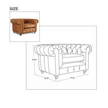 MarquessLife Handmade Tufted Couch Chesterfield Style Aged Leather Single Sofa image 7