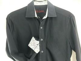 Robert Graham Dress Shirt Medium Black Paisley Pattern Design Contrast C... - $92.10