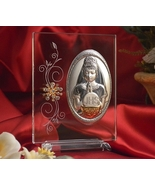 Large Italian Silver First Communion Girl Icon On A Glass Stand - $24.95