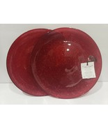 AKCAM CHRISTMAS RED GLITTER SHIMMERING SALAD PLATES SET OF 2 - $26.99