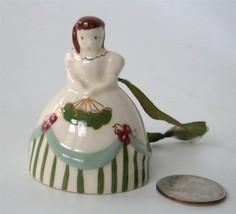 Ceramic Lady Bell Xmas Ornament Figural Ante-Bellum Vtg Poinsettia Studi... - $19.79