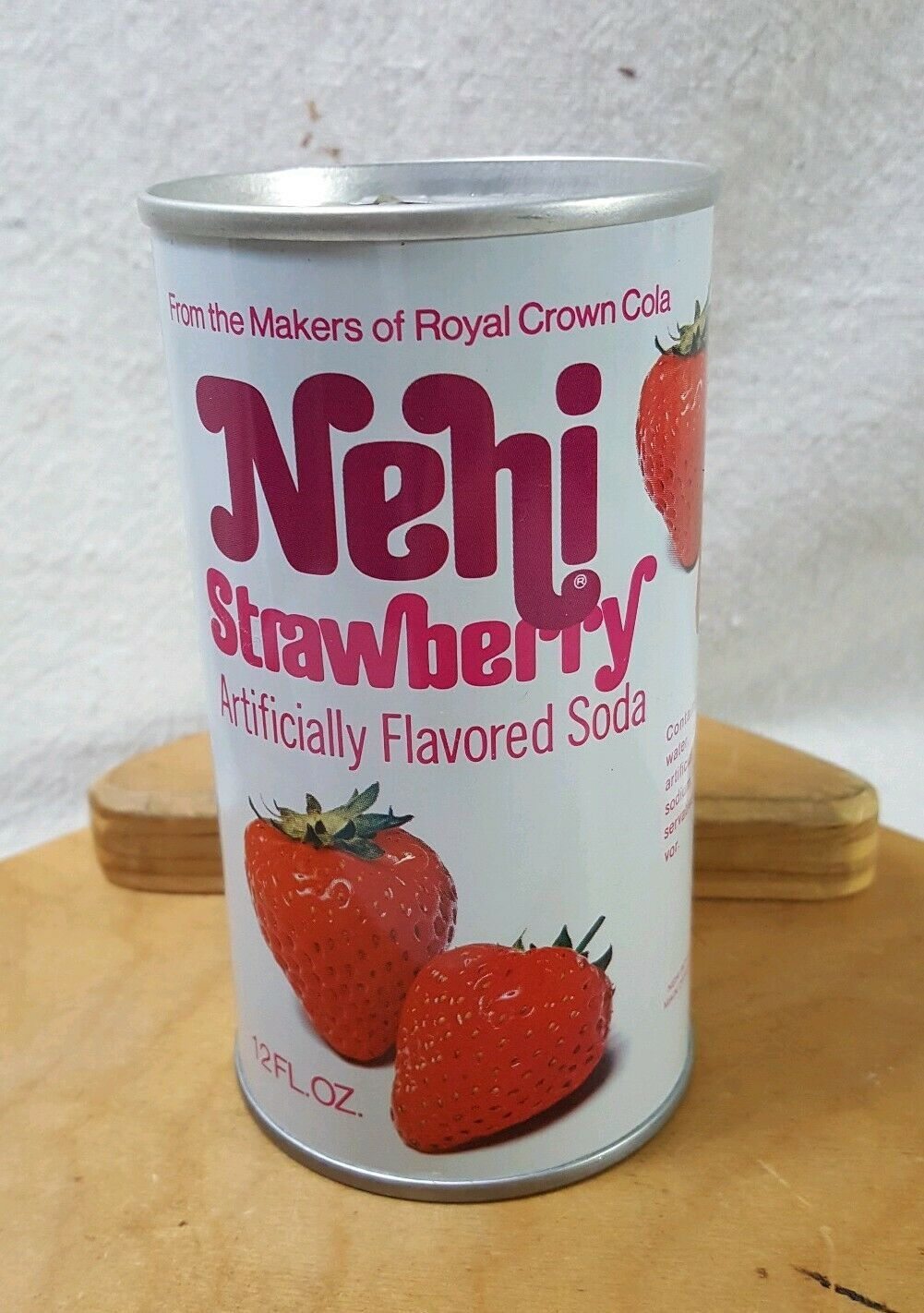 Primary image for Vintage Pull Tab Strawberry Nehi Soda Can 1980s No Bar Code VG+