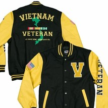 U.S. Vietnam Veteran Varsity Jacket - Yellow/Black - $147.26+