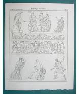 MYTHOLOGY Gods Niobe Her Children Death Husband Amphion - 1825 Antique P... - $9.79