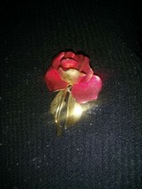 Vintage Signed Cerrito Collectible Red Rose Pin Brooch  - $13.37