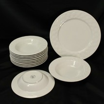 Pfaltzgraff Ribbon Rim Soup Bowls and Chop Plate Platter Lot of 12 - $68.59