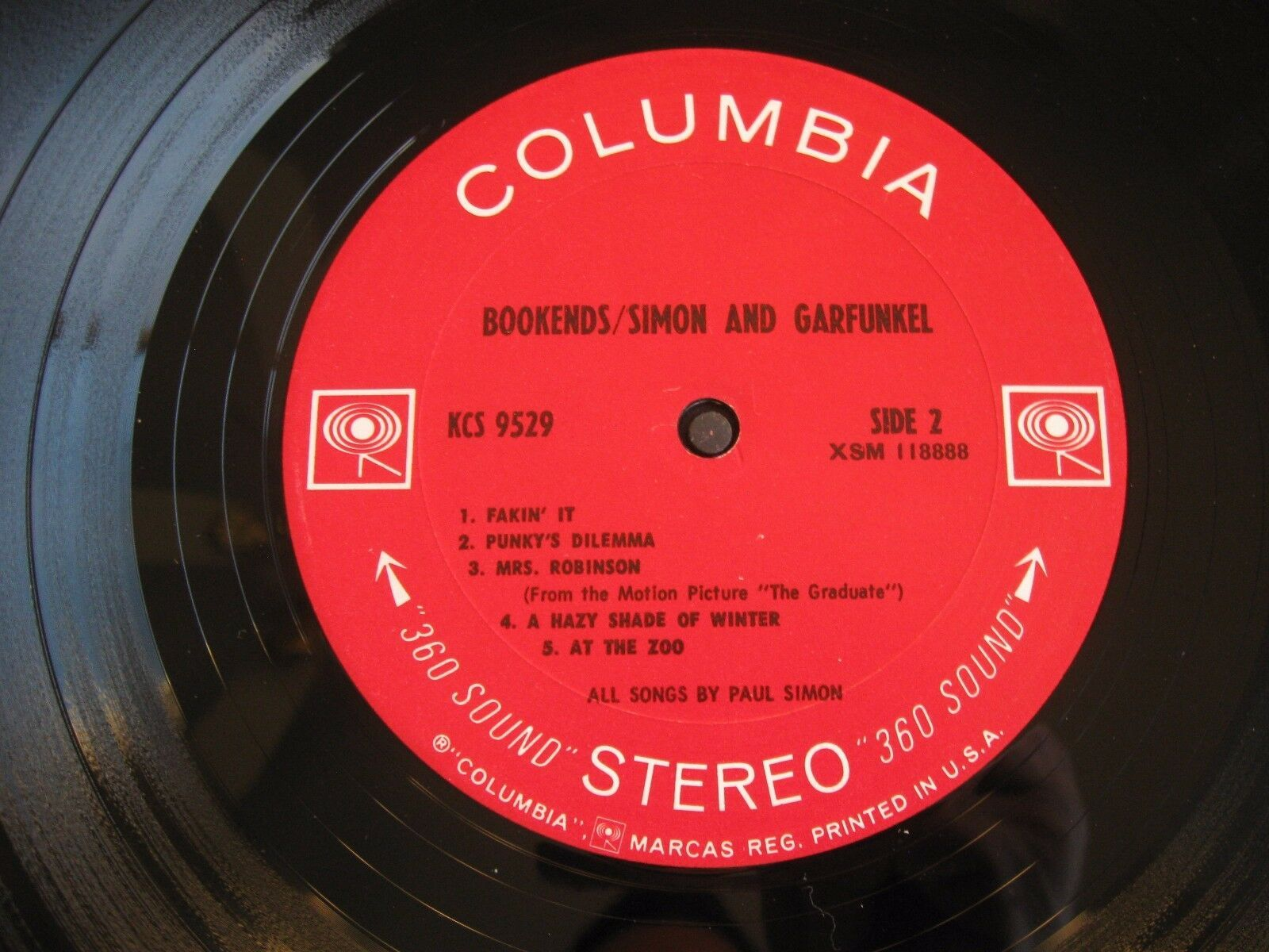 Simon & Garfunkel Bookends Columbia KCS 9529 Stereo 1A First Pressing image 5