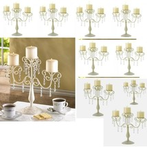 10 Ivory Candelabra Candle Holder Curlicues Crystal Wedding Centerpieces - $204.93