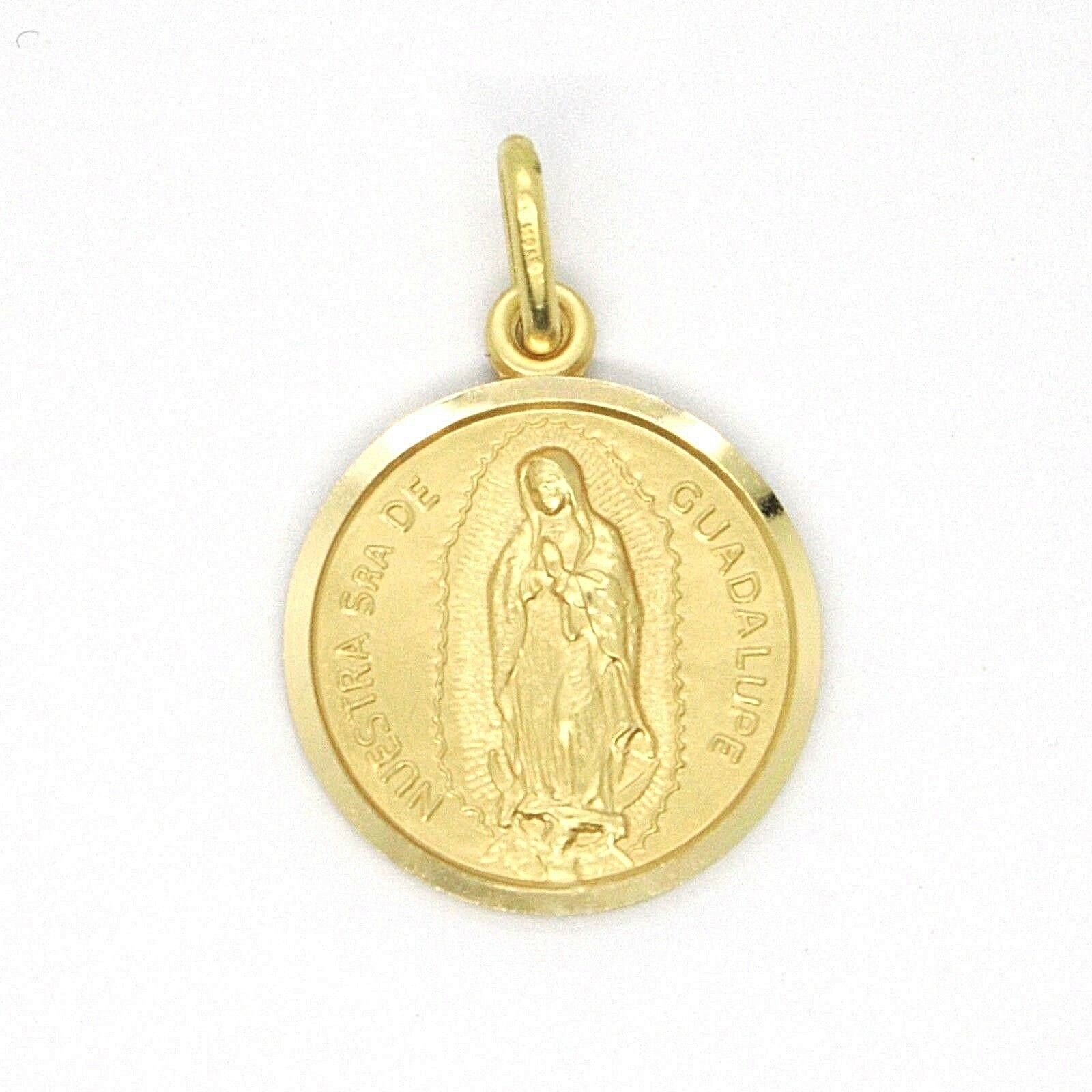 SOLID 18K YELLOW GOLD LADY OF GUADALUPE, 13 MM, ROUND MEDAL MADE IN ITALY SENORA