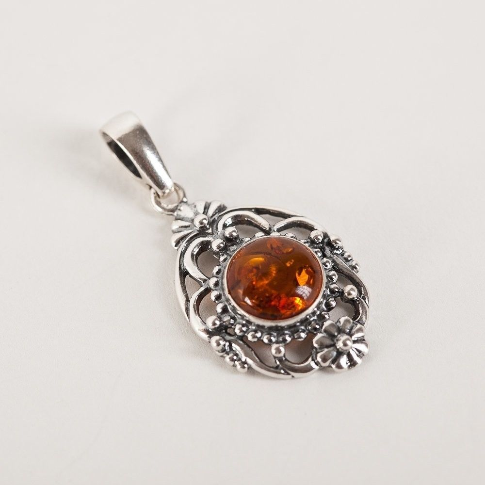 """Sterling Silver 925 Cognac Classic Pendant Baltic Amber Rolo 18"""""""