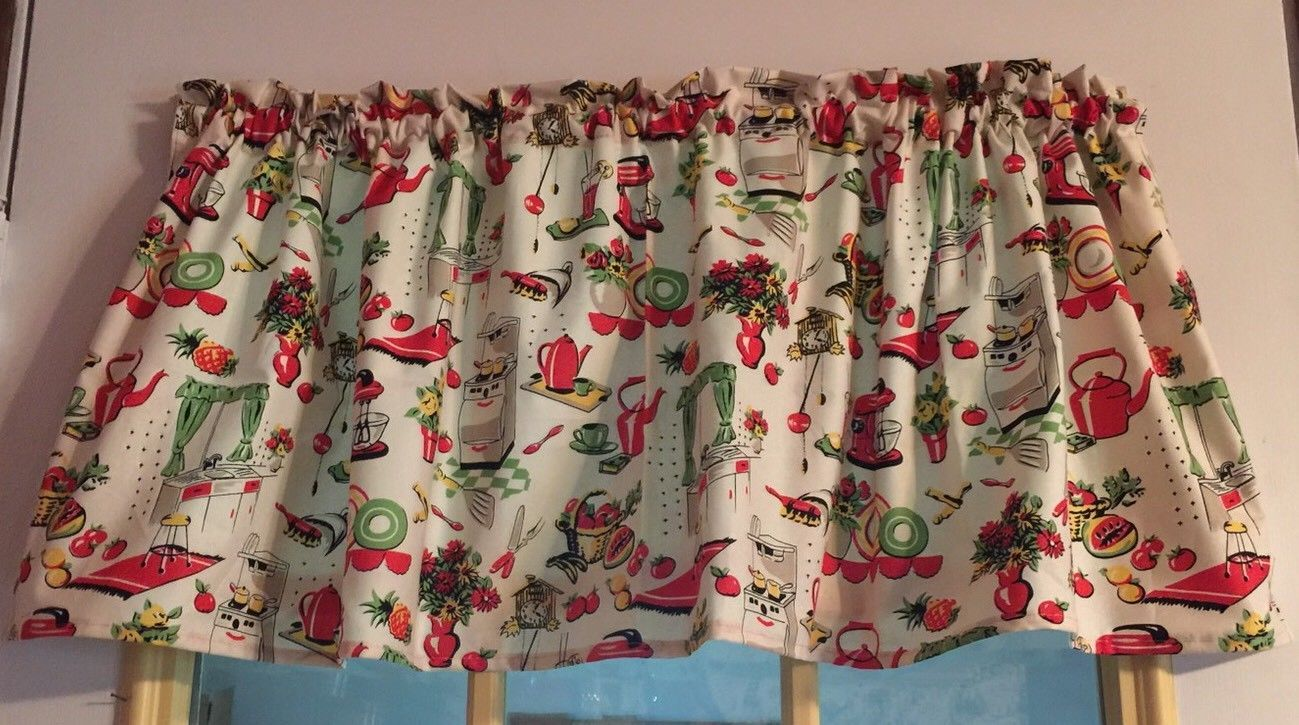 "Summer Vintage Retro Dishes Curtain Valance Window  Cotton fabric 43""W x 15""L"