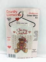 Country Wireworks For My Teacher Teddy Bear Christmas Counted Cross Stit... - $7.55