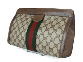 Authentic GUCCI GG Pattern PVC Canvas Leather Browns Clutch Bag GP2134 - $189.00
