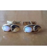 """Pink Colored Pearl Stone Gold Toned Oval Cufflinks 5/8"""" x 3/8"""" - $20.84"""