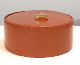 Vintage Jewelry Trinket Leather Round Box w/Lid  Rings Cufflink Western ... - $17.41