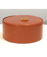 Vintage Jewelry Trinket Leather Round Box w/Lid  Rings Cufflink Western ... - $17.41