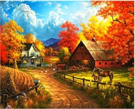 """Autumn Village 16X20"""" Paint By Number Kit DIY Acrylic Painting on Canvas Unframe - $8.99"""