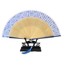 Folding Fan Artware Blue and White Porcelain    QHC-01(navy handle) - $10.44