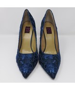 MoJo Moxy Blue Embroidered Flower Pump Heels - Size 10M - $37.99