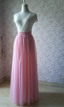 Coral Pink Tulle Skirt Bridesmaids Long Tulle Skirt High Waisted Coral Wedding image 9