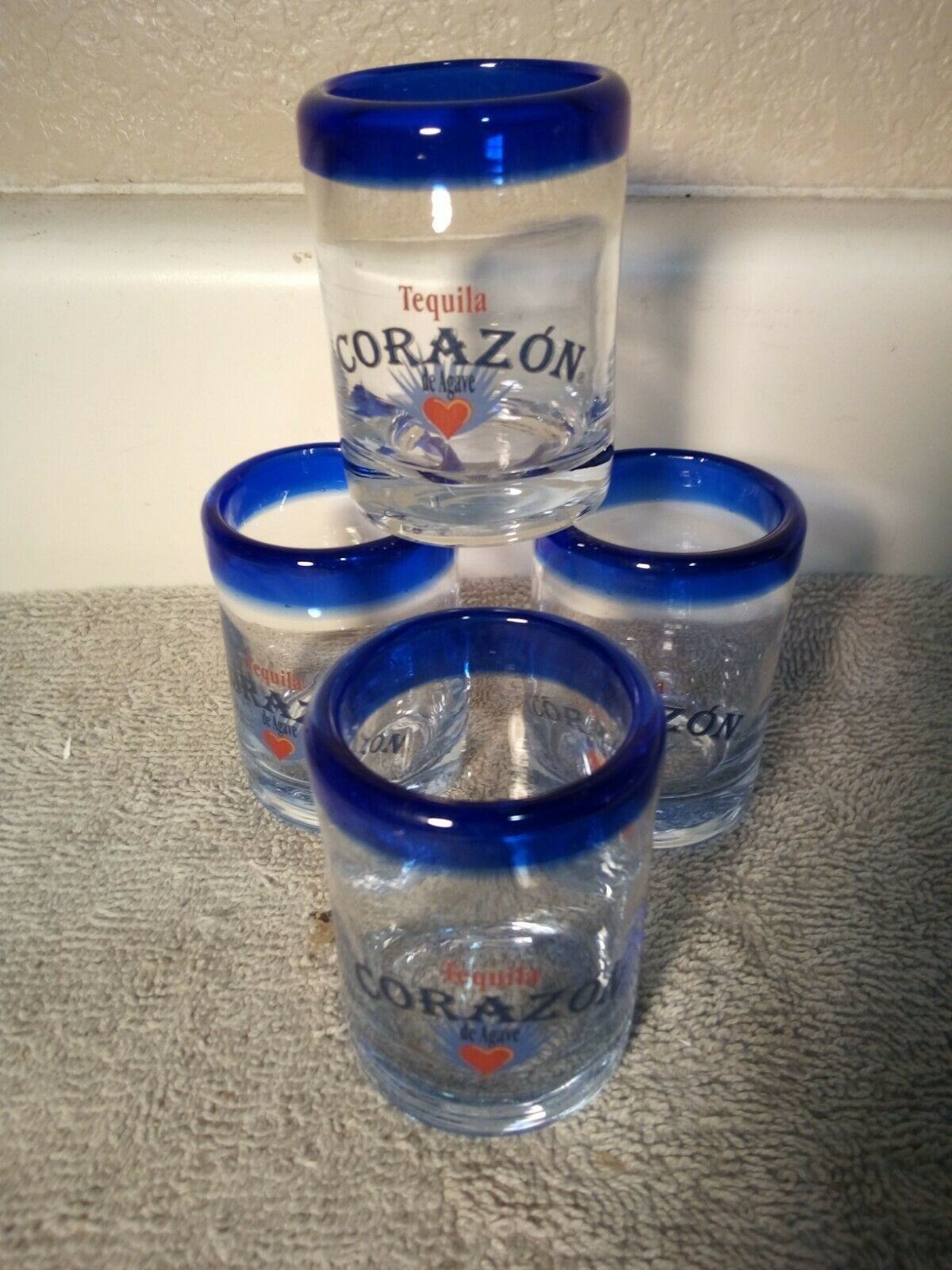 Primary image for (4)  CORAZON TEQUILA de Agave--SHOT GLASSES--BLUE RIM---FREE SHIP--VGC