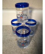 (4)  CORAZON TEQUILA de Agave--SHOT GLASSES--BLUE RIM---FREE SHIP--VGC - $21.77