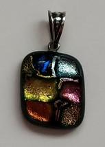 Dichroic Glass Pendant Iridescent Blue Pink Yellow Orange Green Artisan ... - $15.84