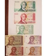 Seven Republika Hrvatska Croation Dinara Banknotes UNC - $7.45